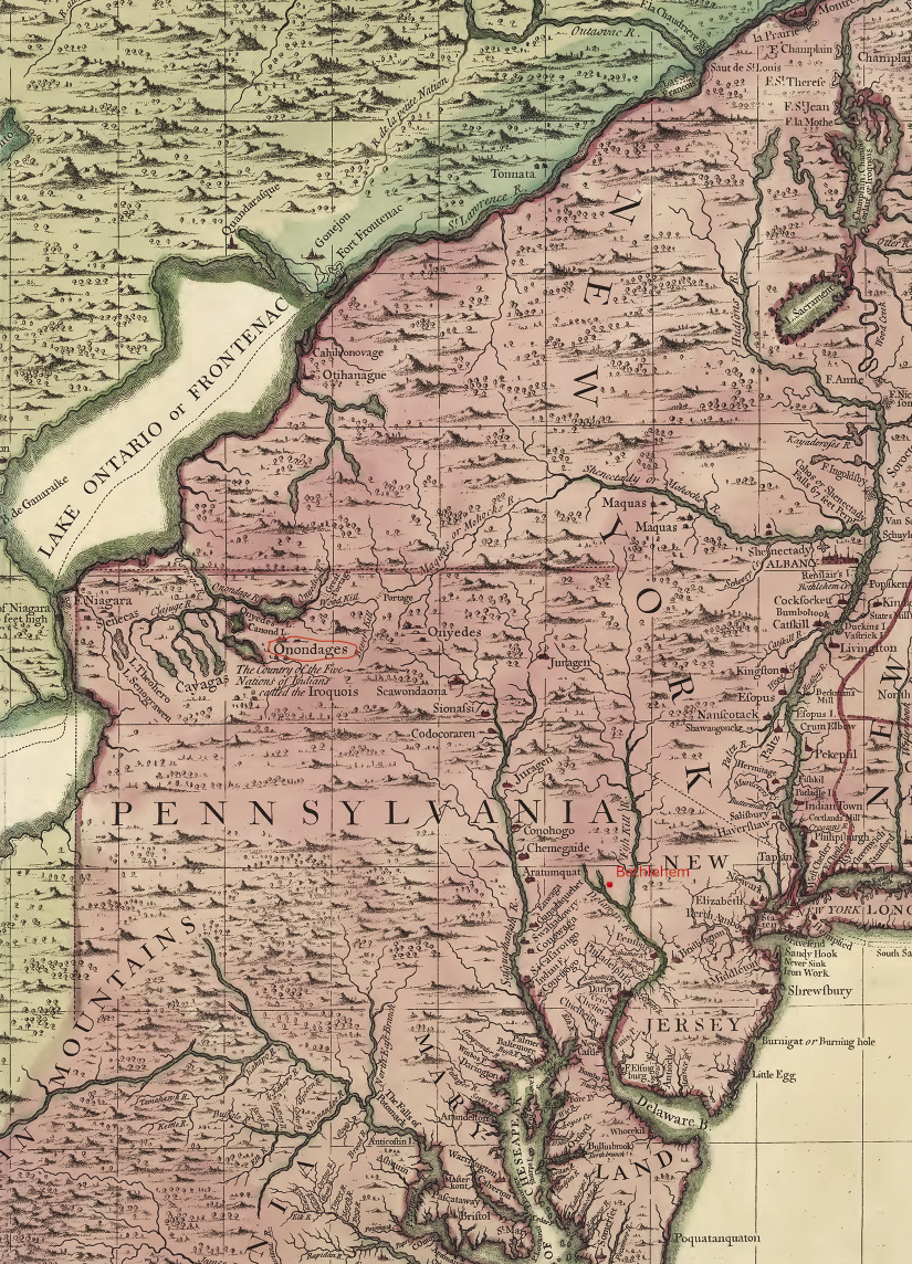 Map of Pennsylvania and New York colonies